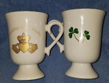 Irish Mug Set Shamrocks And Claddagh