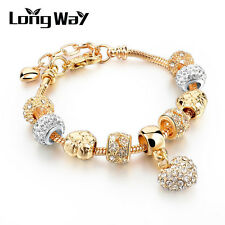 Gold Plated DIY European Fit Love Heart Clear Crystal Beads Girl Charms Bracelet