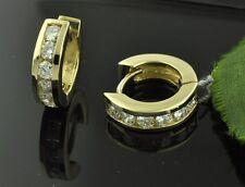 14k Solid Yellow Gold Diamond Hoop Huggie  Earring Earrings  channel set 0.95 ct