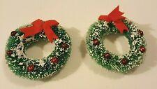 1950s Green Bottle Brush Wreath Ornaments W/Snow + Mercury Balls