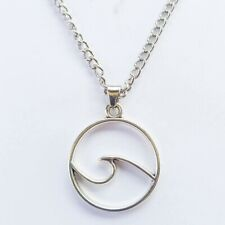 Wave Beach Nautical Surf Necklace Antique Silver Turtle Charm Women's Jewelry