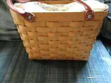 Longaberger tall basket 2004 w/zipper liner protector and bow