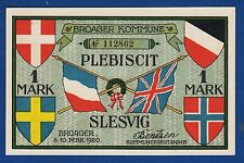 1 One Mark 1920, Germany Notgeld, Broager Kommune Plebiscit, Slesvig, Danmark !