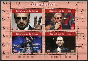 Chad Music Stamps 2019 CTO The Beatles Ringo Starr Famous People 4v M/S