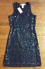 NEW $98 Max Studio XS Dress Sequin Mesh Sleeve Cocktail Formal Party Black P240
