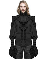 Devil Fashion Mens Gothic Shirt Top Black Steampunk Regency Aristocrat Skull VTG