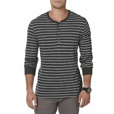 Men's Structure Slim Fit Striped Henley L/S Top Shirt Coalmine Grey Size L