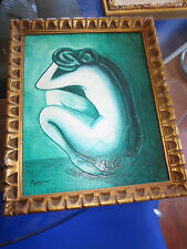 Vintage oil painting on canvas woman nude signed small