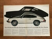 "2-Page 1972 White Porsche 911 Print Ad ~ ""Dr. Ferry finest production ever"""