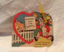 Vintage Valentine Large Fold Out Boy Girl Usa Wanted Just One Valentine