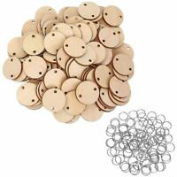 1X(100 Pieces Round Wooden Discs with Holes Birthday Board Tags and 100 PieR5S3)
