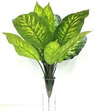 """Dieffenbachia Plant x13 w/Metal Stake. Variegated Green~PVC(real touch). 27"""" T"""