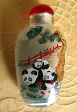More details for oriental panda & bamboo fine detailed reverse inside hand painted snuff bottle a