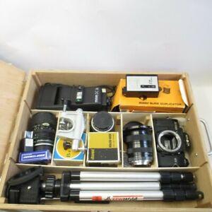 Camera Accessories Joblot in Wooden Box Minolta X-700 Lenses Tripod Untested