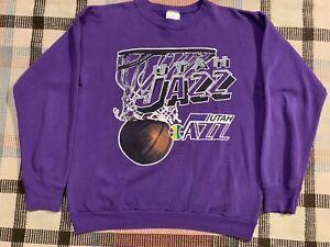 Vintage 1990 Utah Jazz Logo 7 Sweatshirt Size L Purple - Tultex Made in USA!!!
