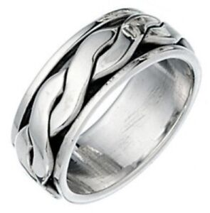 Elements 925 Oxidised Sterling Silver Twisted Band Spinning Stress Ring [P]