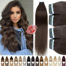 """US THICK Tape In 100% Brazilian Human Remy Hair Extensions Skin Weft Brown 8-24"""""""