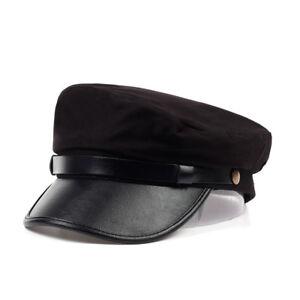 Casquette Unisexe Pêcheur Chapeaux Coton Noir Simili Cuir Doux Élastique Lining