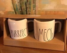 "Rae Dunn ""MEOW and PURRFECT"" Mug Set CAT New"