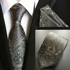 Classic Set Man ties Silk & Handkerchief Pocket Square Gray Gold Flowers Necktie