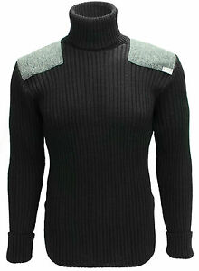 Roll Neck Sweater   Harris Tweed patches   100% British Wool   # 14132