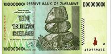 ZIMBABWE10 TRILLION DOLLARS NOTE 2008 CURRENCY NOTE UNC AA PREFIX