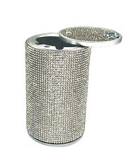 Car Ashtray Aluminum Silver Diamond Cigarette Smokeless Cup Holder Fireproof