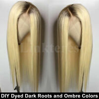 Best Bleached Blonde Full Wig European Human Hair Lace Front Wig Straight Wavy P