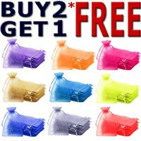 25 & 50 Organza Bags Wedding Party Favour Gift Candy Jewellery Pouch Large Small