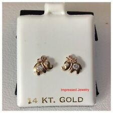 14k Yellow Gold Elephant with BOW Stud Shiny CZ Earrings Baby Kids Screw Back