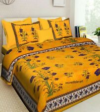 Cotton Floral print King Size Multicolored Luxury Bed sheet with 2 Pillow Cover