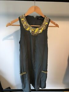 Women's Designer French Connection Beaded Dress 100% Silk Size 8 Rare Fashion