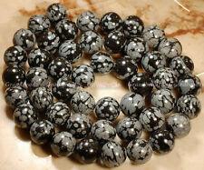 "Wholesales 14 strands x 8 mm Snowflake Obsidian Gemstone Round Beads 16"" GB132"