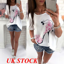 UK Fashion Women Short Sleeve Tops Summer Beach Casual Loose Blouse Top T Shirt