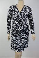 Trent Nathan Ladies Long Sleeve Jersey Wrap Dress size 12 Colour Black White