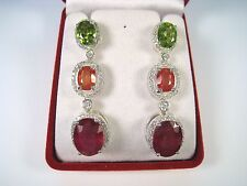 25.43 CTW RUBY SAPPHIRE & PERIDOT EARRINGS - WHITE GOLD over 925 STERLING SILVER