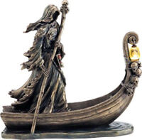 Charon, Greek mythology ferryman of the dead with lantern / bronze statue 25cm