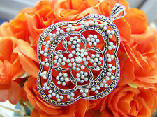 FABULOUS STERLING SILVER LARGE SEED PEARLS MARCASITE PENDANT BROOCH UNUSUAL RARE