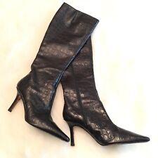 Donald J Pliner 6.5 Boots Black Knee High Zip Up  Leather Croc Embossed Italy