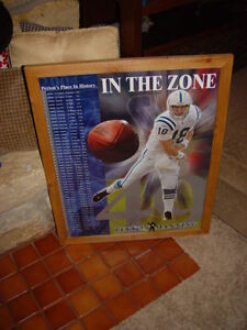 INDIANAPOLIS COLTS PEYTON MANNING CEDAR FRAME LIMITED EDITION MAN CAVE POSTER