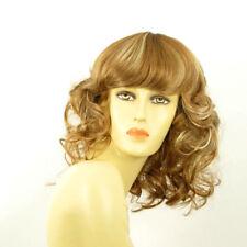perruque femme mi-longue bouclée blond cuivré méché blond clair: célia f27613