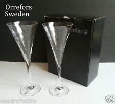 Orrefors Sweden set of 2 crystal HELENA Champagne Glasses New in Box 25cl