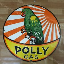 POLLY GAS PARROT PORCELAIN ENAMEL SIGN 30 INCHES ROUND