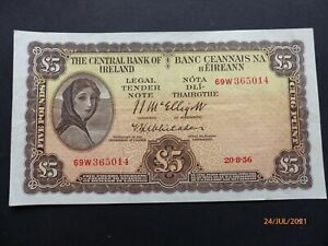 """Central Bank of Ireland """"Lady Lavery"""" Five Pound Note"""