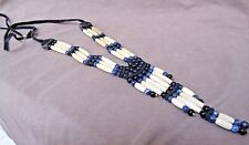 Leather 3 strand Bone necklace Jn0228 Native Navajo Blue Goldstone, Sodalite &