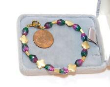 "Vintage Watermellon Pink Green Crystal Gold Flower Bead 7"" Bracelet  4a 31"