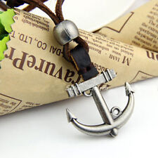 FT- Men's Women's Punk Anchor Pendant Leather Necklace Cord Adjustable Eyeful