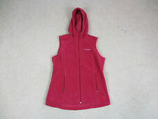 Columbia Vest Jacket Womens Medium Red Full Zip Fleece Hoodie Outdoors Ladies
