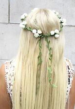 Ivory Cream Rose Flower Leaves Headband Hair Crown Garland Wreath Vtg White 1357