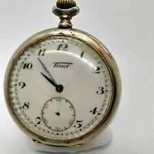 TISSOT SILVER POCKET WATCH VINTAGE Movement Open Face RARE Retro 800 SWISS Old